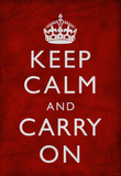 Keep Calm and Carry On (Motivational, Red, Wrinkled) Art Poster Print Masterprint