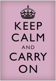 Keep Calm and Carry On (Motivational, Lilac) Art Poster Print Posters