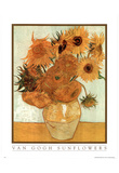 Vincent Van Gogh (Vase with Twelve Sunflowers, Text) Art Poster Print Posters