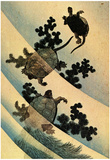 Katsushika Hokusai Turtles Swimming Art Poster Print Posters