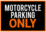 Motorcycle Parking Only Black and Orange Poster Prints