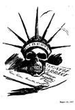 The Daily Worker Cartoon (Case of Sacco &Vanzetti, Liberty Skull) Art Poster Print Julisteet