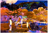Paul Gauguin Woman and a White Horse Art Print Poster Prints
