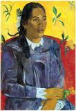 Paul Gauguin Woman with Flower Art Print Poster Prints