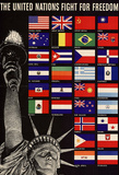 The United Nations Fight for Freedom WWII War Propaganda Art Print Poster Masterprint