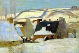 Paul Gauguin Breton Village in Snow Art Print Poster Masterprint
