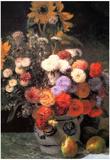 Pierre Auguste Renoir Flowers in a Vase Art Print Poster Posters