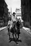 Man On Horseback Wearing Gas Mask Archival Photo Poster Masterprint