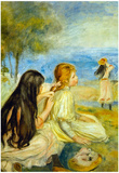 Pierre Auguste Renoir Girls by the Seaside Art Print Poster Prints