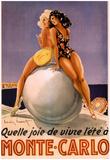 Monte Carlo Beach Babes Quelle Joie de Vivre Vintage Ad Art Print Poster Print