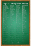 Top 151 Commonly Misspelled Words Educational Poster Pôsters