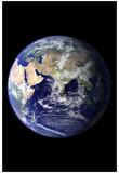Planet Earth Eastern Hemisphere on Black Art Print Poster Plakater