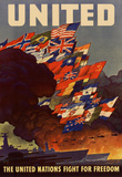 United The United Nations Fight for Freedom WWII War Propaganda Art Print Poster Masterprint