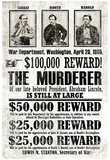 John Wilkes Booth Replica Wanted Poster Affiche
