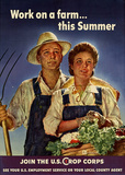 Work on a Farm This Summer Join the US Crops Corps WWII War Propaganda Art Print Poster Masterprint