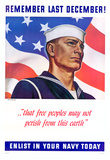 Remember Las December Enlist in Your Navy Today WWII War Propaganda Art Print Poster Posters