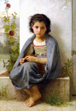 William-Adolphe Bouguereau The Little Knitter Art Print Poster Masterprint