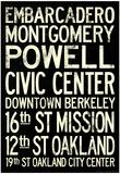 San Francisco Oakland BART Stations Subway Travel Poster Posters