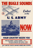 The Bugle Sounds Enlist in the U.S. Army Now WWII War Propaganda Art Print Poster Masterprint