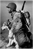 Soldier and Sled Dog 1942 Archival Photo Poster Prints