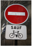 Paris France Sauf Biking Sign Art Print Poster Posters