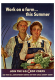 Work on a Farm This Summer Join the US Crops Corps WWII War Propaganda Art Print Poster Prints