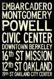 San Francisco Oakland BART Stations Vintage Subway RetroMetro Travel Poster Masterprint