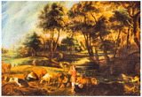 Peter Paul Rubens Landscape with Cows and Duck Hunters Art Print Poster Posters