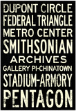Washington DC Metro Stations Vintage RetroMetro Travel Poster Affiches