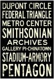 Washington DC Metro Stations Vintage Travel Poster Prints