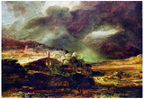 Rembrandt City on a Hill in Stormy Weather Art Print Poster Prints