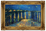 Starry Night Over the Rhone Poster with Gilded Faux Frame Border Print