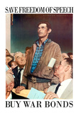 Norman Rockwell Save Freedom of Speech WWII War Propaganda Art Print Poster Prints
