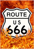 Route 666 Highway to Hell Poster Print Billeder