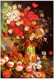 Vincent Van Gogh Vase with Poppies Cornflowers Peonies and Chrysanthemums 2 Art Print Poster Poster