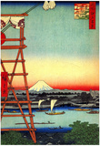 Utagawa Hiroshige Yanagibashi Bridge Poster