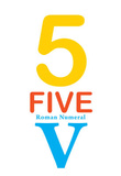Number 5 Sign with Roman Numeral Banner Poster Masterprint
