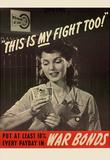 This is My Fight Too War Bonds WWII War Propaganda Art Print Poster Masterprint
