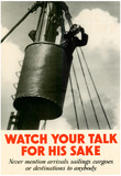 Watch Your Talk for HIs Sake WWII War Propaganda Art Print Poster Prints