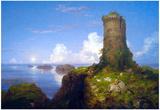 Thomas Cole Italian Coast Scene with Ruined Tower Art Print Poster Prints