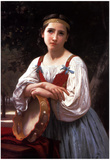 William-Adolphe Bouguereau Gypsy Girl with a Basque Drum Art Print Poster Prints