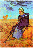 Vincent Van Gogh The Shepherdess after Millet Art Print Poster Posters