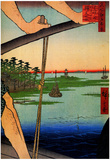 Utagawa Hiroshige Haneda Ferry and Benten Shrine Art Print Poster Posters