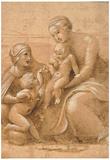 Raphael Madonna Col Bambino San Giovannino e Sant Elisabetta Art Print Poster Billeder