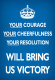 Your Courage Will Bring Us Victory (Motivational, Blue) Art Poster Print Masterprint