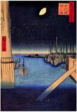 Utagawa Hiroshige Tsukudajima from Eitai Bridge Art Print Poster Prints