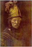 Rembrandt Harmensz. van Rijn (School) (The man with the golden helmet) Art Poster Print Prints