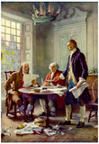 Writing the Declaration of Independence Historical Art Print Poster - Reprodüksiyon