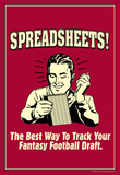 Spreadsheets Best Way Track Fantasy Football Draft Funny Retro Poster Masterprint