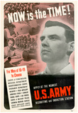 Now Is The Time to Choose U.S. Army WWII War Propaganda Art Print Poster Prints